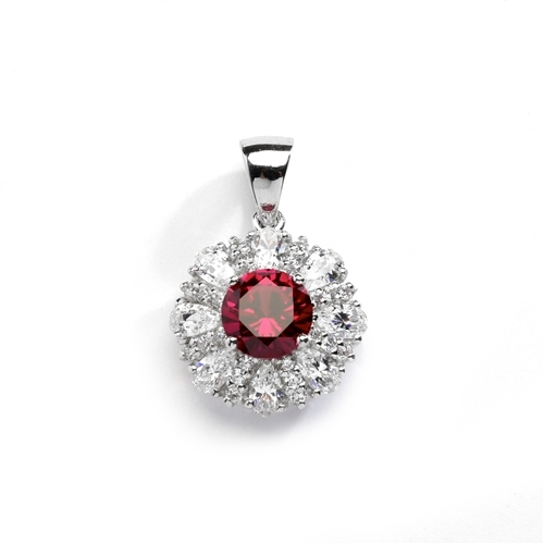 Diamond and Ruby Pendant - 2.0 cts. Round Ruby Essence in center surrounded by Pear Cut Diamond Essence and Melee. 5.5 Cts T.W. set in 14K Solid White Gold.