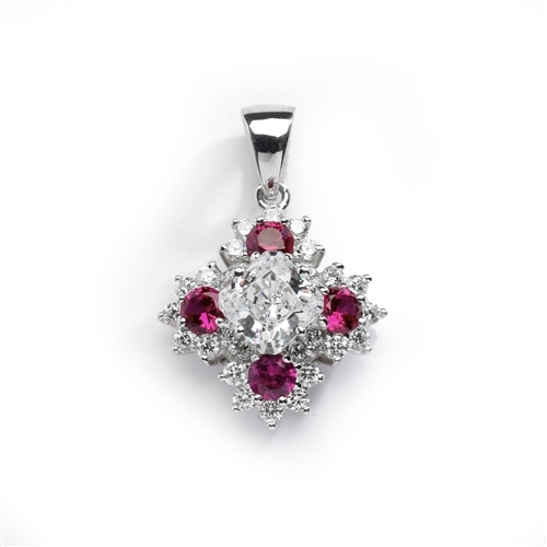 Designer Pendant with Asscher cut Diamond Essence in center surrounded by Floral designs created with Round Ruby Essence and Melee. 6.0 Cts. T.W. set in 14K Solid White Gold.