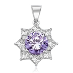 Pendant with 3.5 Cts. Round Lavender Essence in center surrounded by Princess Cut Diamond Essence and Melee. 6.5 Cts. T.W. set in 14K Solid White Gold.