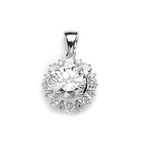 Designer Pendant with 4.0 Cts Round Brilliant Diamond Essence in center surrounded by alternately set in Princess and Melee. 7.25 Cts T.W. in 14K Solid White Gold.