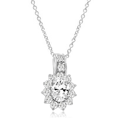 Brilliant Pendant with 1.5 Ct. Oval center surrounded by beautiful melee of Round Brilliants. 2.25 Cts.T.W. In 14k Solid White Gold. Free Sterling Silver Chain.