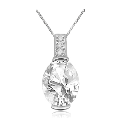 3ct oval-cut stone pendant in Solid White Gold