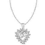 Diamond Essence LOVE Pendant with 0.6 Ct.T.W Round Brilliant Melee,14K Solid White Gold.