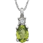 Prong Set Pendant with Simulated Peridot Diamond by Diamond Essence set in 14K Solid White Gold