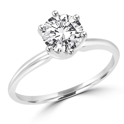 Solitaire ring with 1 carat stone set in two-tone 14k solid white gold