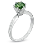 Diamond Essence Solitaire Ring With Emerald Round Brilliant stone, 2 Cts.T.W. In 14K White Gold.