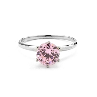 2.0 carat Pink Round Brilliant stone set in, 14K Solid White Gold, a perfect solitaire ring. ( Image in Yellow but Product in 14k Solid White Gold).