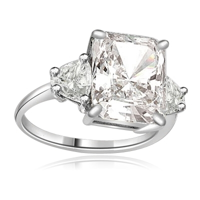 Diamond Essence emerald-cut brilliant stone of 5.0 cts. setting with trilliant baguette on each side. 6.0 cts.T.W. set in 14K Solid White Gold.