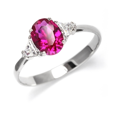 Stunning Ring, 2 Cts. T.W, with 1 Ct Oval Cut Ruby Center and White Trilliant Diamond Essence Stones on side, in 14K Solid White Gold.
