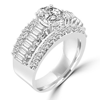 Virgo - Cool Cocktail Ring with large masterpieces enhanced by smaller accent baguettes and round accents, 4.5 Cts. T.W, in 14K White Gold.