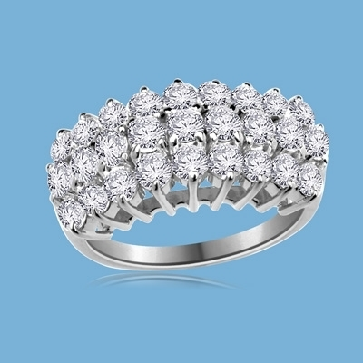 Celtic Wedding - Amazing Anniversary Ring, 3.35 Cts. T.W, with a row of Round pieces ringed on either side by a row of accents, in 14K White Gold.