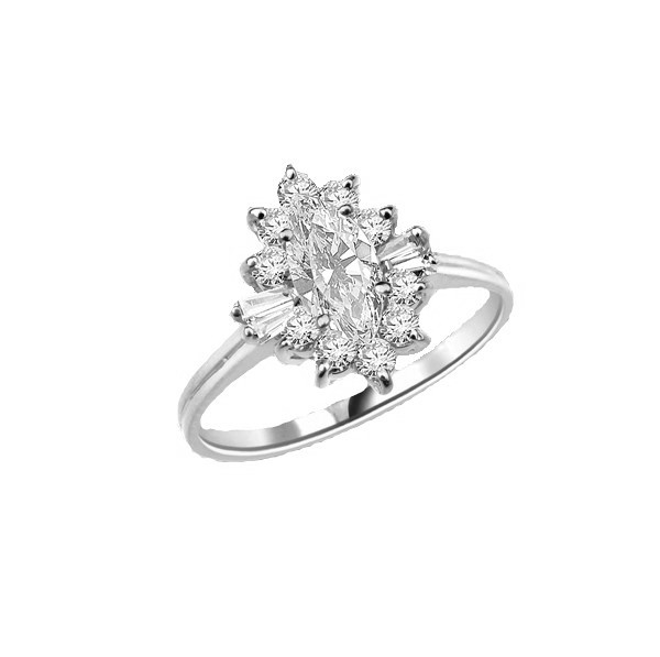 Honeysuckle Rose - 1 Ct. Marquise Cut Center stone with Baguettes and Round Accent Masterpieces. 1.3 Cts. T.W. in 14K Solid White Gold.