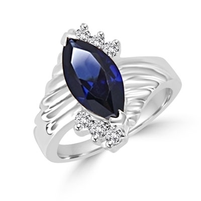 Blue Moon- A must have Ring, 2 Ct. Marquise cut Sapphire Essence Center Stone and 0.30 Diamond Essence Accents. 2.30 Cts. T.W. set in 14K Solid White Gold.