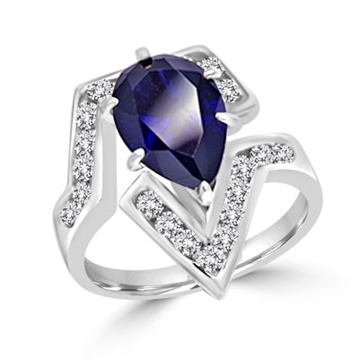 Lulu - Move Forward with this superb Ring, 2.0 carat pear cut Sapphire Essence Center Stone and Melee Accents. 3.0 Cts. T.W. set in 14K Solid White Gold.