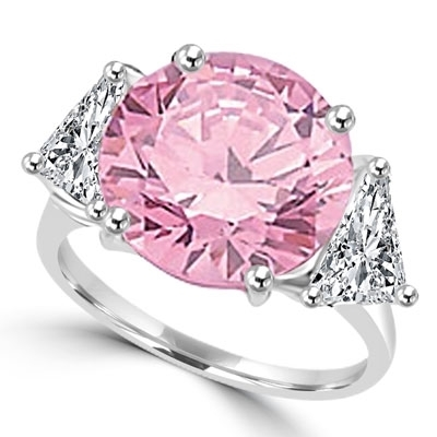 Risque- Diamond Essence Ring with 2 Carat Round Cut Pink Essence in Center and 0.5 Ct. Each trilliant cut side accents. 3.0 Cts.T.W. set in 14K Solid White Gold.
