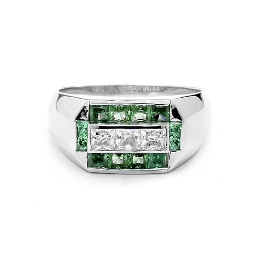 Man's Ring with 0.75 cts, Radiant Square Diamond Essence Center Stones surrounded by 1.0 cts. Princess Cut Emerald Essence, channel set in 14k Solid White Gold.