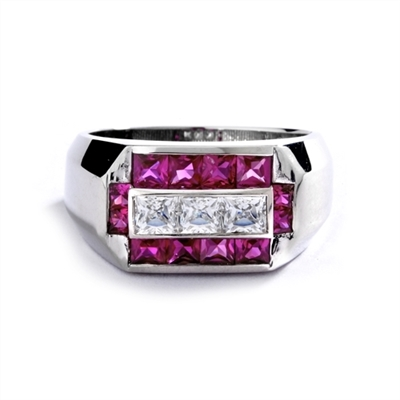 Man's Ring with 0.75 cts, Radiant Square Diamond Essence Center Stones surrounded by 1.0 cts. Princess Cut Ruby Essence, channel set in 14k Solid White Gold.