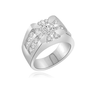 0.75 ct Paladin -Majestic Man's ring in white gold