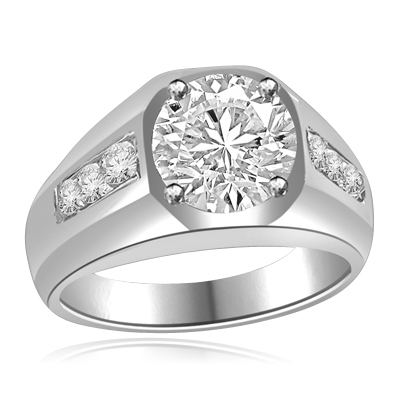 Impressive Man's Ring 2.75 Cts. T.W with 2 Cts. Brilliant White Center and Channel Set accents squiring each side, in 14K Solid White Gold.