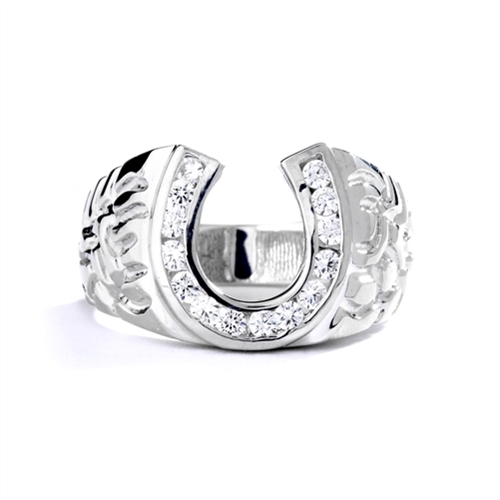 Fall in love with this charming horseshoe design ring with 0.75 Cts. Diamond Essence nuggets set in artistic band set in 14K Solid White Gold.