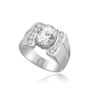 CITY LIGHTS  Art deco Man's ring in White Gold