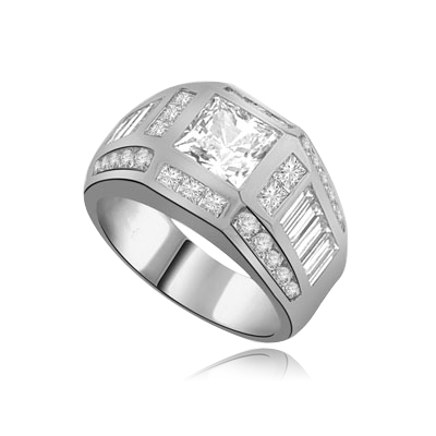 square & round stones-baguettes in white gold ring
