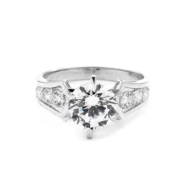 A beautiful engagement ring, Diamond Essence round brilliant stone of 2.0 carat set in six prongs and curved shank with beautiful round melees. 2.5 ct.t.w. in 14K Solid White Gold.