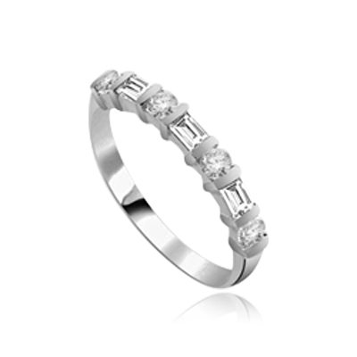 Delicately dazzling Band with Baguettes ring 14K Solid White Gold