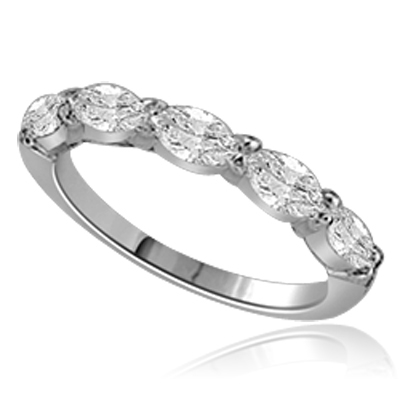 Simple delicate band 1.25 Cts. T.W. with 0.25 Ct Marquise Cut 5 Diamond Essence stones in 14K Solid White Gold.