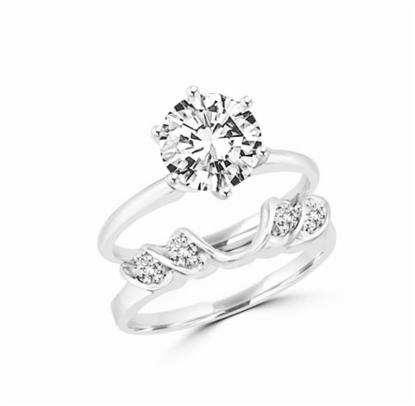 14K Solid White Gold swanky ring  wrap with round jewels. 0.16 cts. tw. This item does not include solitaire ring.
