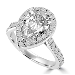 Diamond Essence Halo Setting Designer Ring With 3 Cts. Pear Center and Melee around And On The Band, 5.50 Cts.T.W. In 14K White Gold.