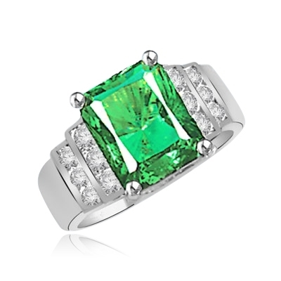 Emerald and Diamond Essence Ring in Solid White Gold
