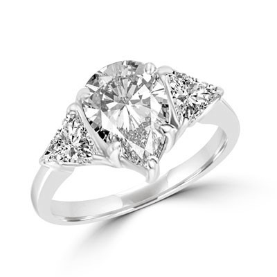 Duse - Ring with Pear Cut Center Stone flanked by Brilliant Trilliant Cut Diamond Essence accents, 3.0 Cts. T.W in 14K White Gold.