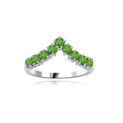 Stacking Ring V-shaped Emerald ring in 14K Solid White Gold