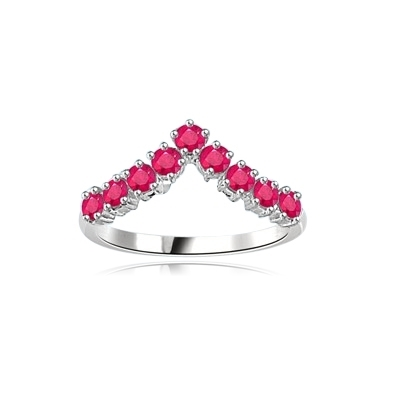 Stacking Rings-V-shaped Ruby rings in White gold