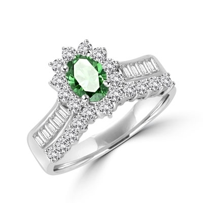 Toccata - Simply Elegant Ring, with a 1.0 Ct. Oval Emerald Center Stone and Accents.You will show them what you can do! 2.0 Cts. T.W. set in 14K Solid White Gold.