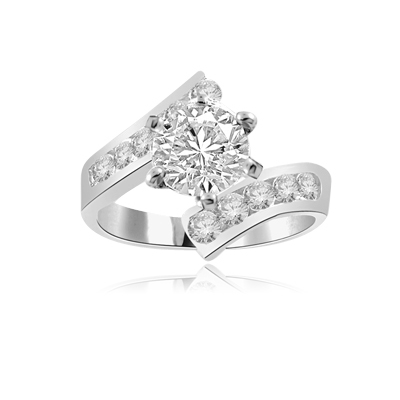 Ring–round stone & channel set in white gold