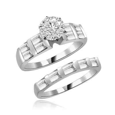 Aeneas and Dido - Brilliant Wedding Set, 2.8 Cts. T.W, 1.0 Ct. Solitaire and Sqaure Baguettes in Bar Setting, in 14K White Gold.