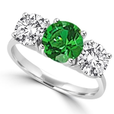 solid white gold Ring – round emerald and brilliant side stones