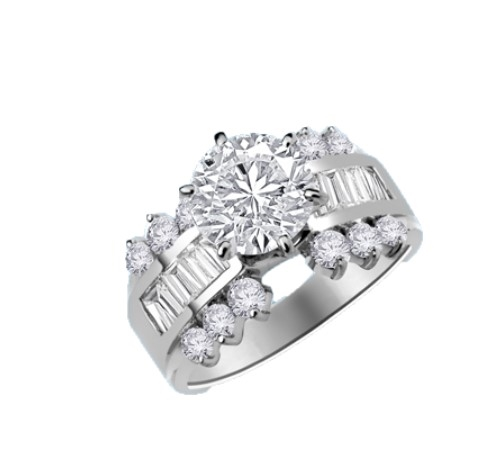 round stone ang baguettes white gold ring