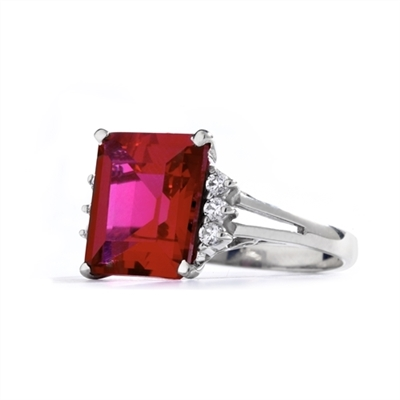 Superb Ring with 5 Cts Emerald Cut Ruby Essence Center Stone and melee accents for a total of 5.2 Cts.t.w. in 14K Solid White Gold.