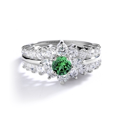 Greenpeace - 1.25 Carats Emerald Center is surrounded by supremely crafted masterpieces. In 14k Solid White Gold.