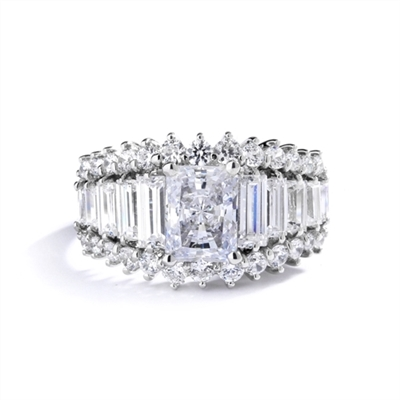 Emerald cut round radiating stone in white gold