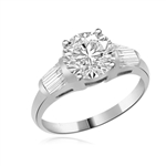 2.0 ct round double cut center and baguettes ring