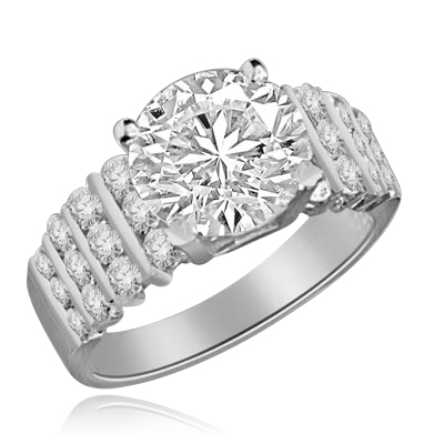 ring-3ct round stone,round jewels in white gold