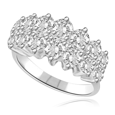 Brilliant Ring with 2.8 cts.t.w. with two supernova rows of round stones in 14K Solid White Gold.