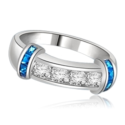 Brilliant channel-set Diamond Essence diamonds with a bar of Princess cut Sapphire  Essence on either side. 1.35 cts. T.W. set in 14K Solid White Gold.