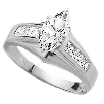 Diamond Essence Ring With 0.75 Ct. Marquise Center Followed By Channel Set Princess Stone Enhance the look Of Band In 14K White Gold, 1.50 Cts.T.W.