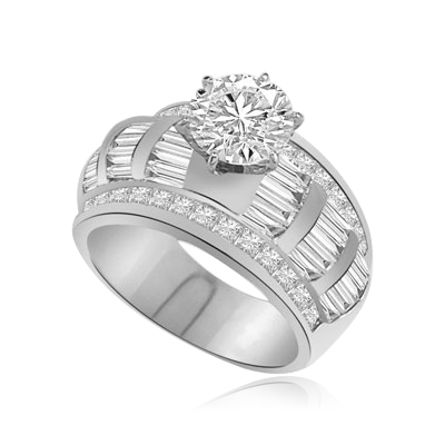 ring-2 ct round stone,princess stones, baguettes