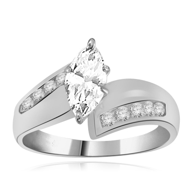 Marquise Ring 1.5 ct of round diamond in 14K Solid White Gold